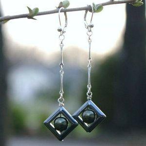 Jewelry - Hematite & Dark Green Glass Pearl Silver Earrings